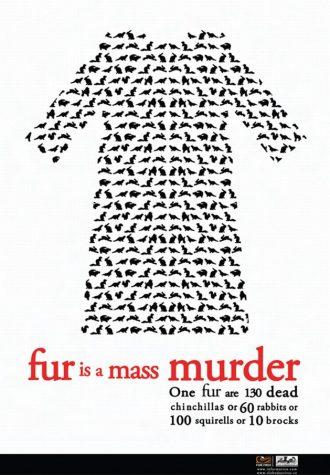 plakát Desingem proti kožešinám, autor Anna Deáková