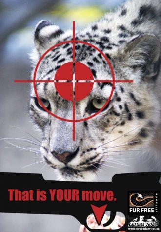 plakát Desingem proti kožešinám, autor Martin Semonský