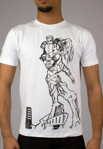 pánské bílé triko s potiskem Uzi Girl (£ 25)