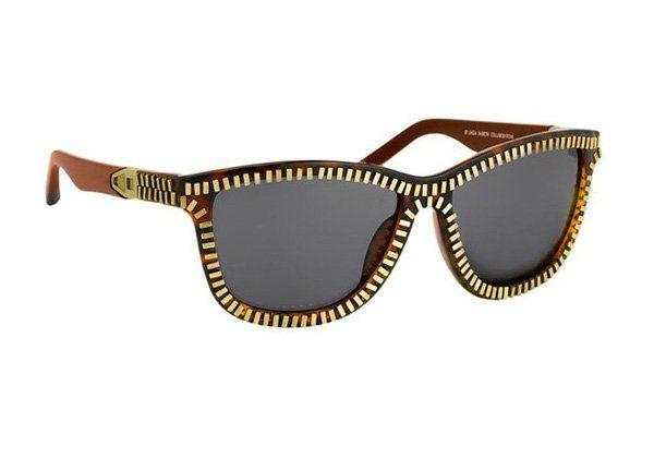 hnědé sluneční brýle se vzorem zipu Linda Farrow