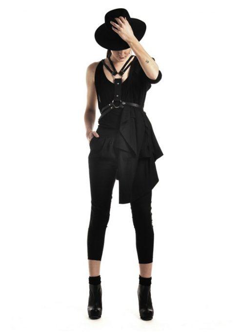 černý kožený popruh Zana Bayne