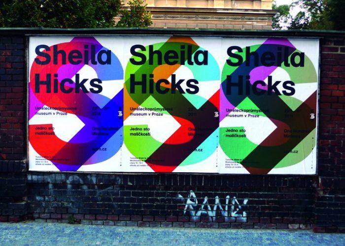 plakát k výstavě Sheila Hicks (grafický designér Štěpán Malovec)