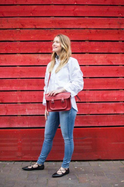 červená kožená brašna Cambridge satchel