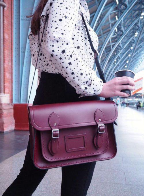 vínová kožená brašna Cambridge satchel