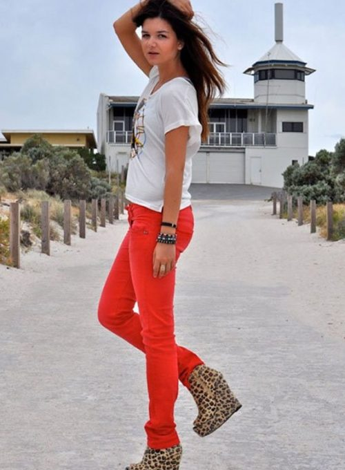 dámské červené kalhoty