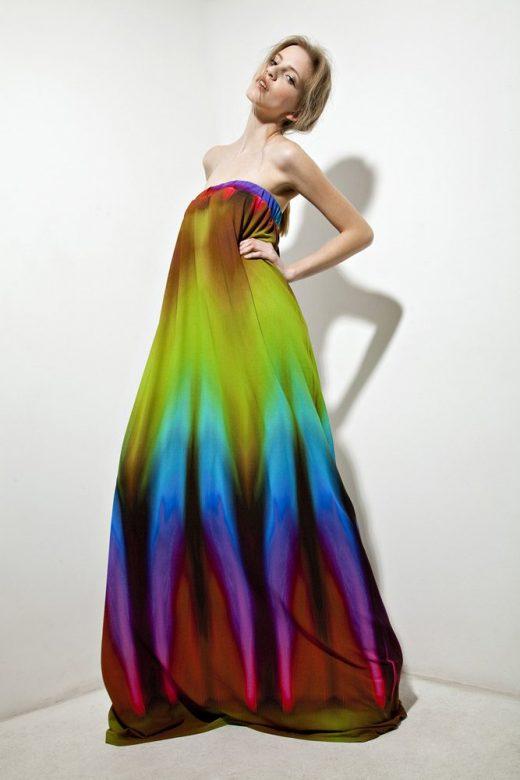 dámské dlouhé duhové šaty bez ramínek Tatiana