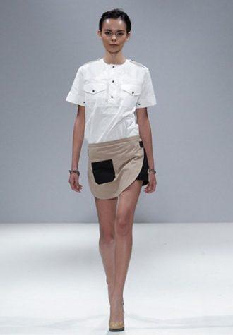 dámská bílá košile, béžová misukně Eudon Choi
