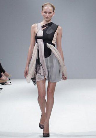 dámské béžovo-černé šaty Eudon Choi