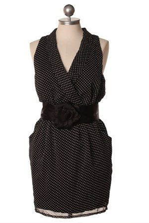 černé puntíkované šaty s černým páskem ($ 47.99)