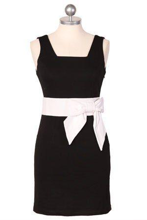 černé šaty s bílou stuhou v pase ($ 48.99)