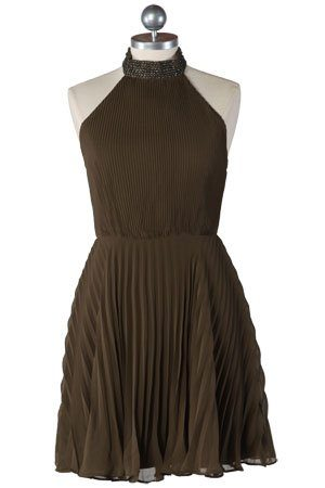 hnědé plisované šaty ($ 60.99)