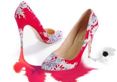červeno-bílé lodičky Luke (£ 280)