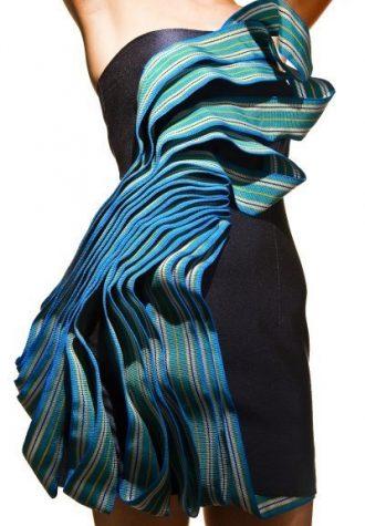 dámské černé šaty s volány Cetonia
