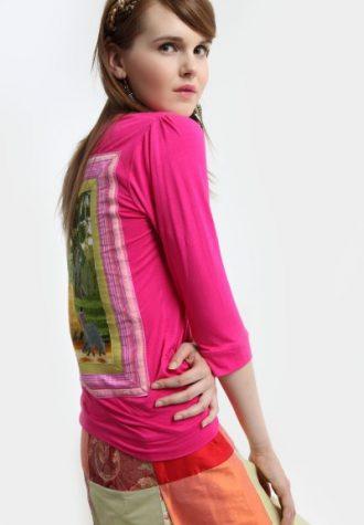 dámské růžové triko s potiskem La Femme Mimi