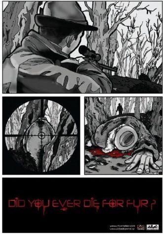 plakát Desingem proti kožešinám, autor Dominik Trusina (2. místo)