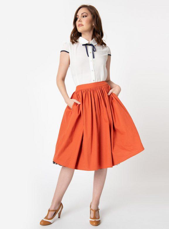 Collectif 1950s Style Burnt Orange Jasmine Swing Skirt