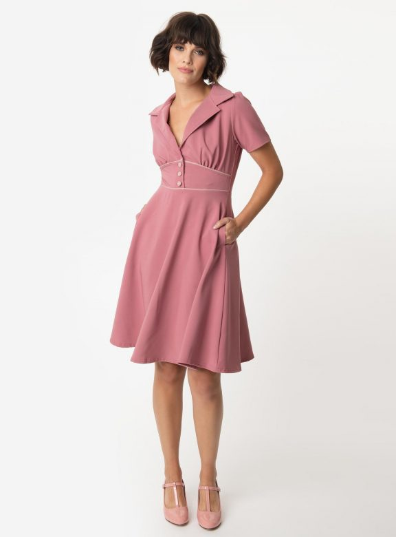 Steady 1940s Style Mulberry Pink Katherine Swing Dress