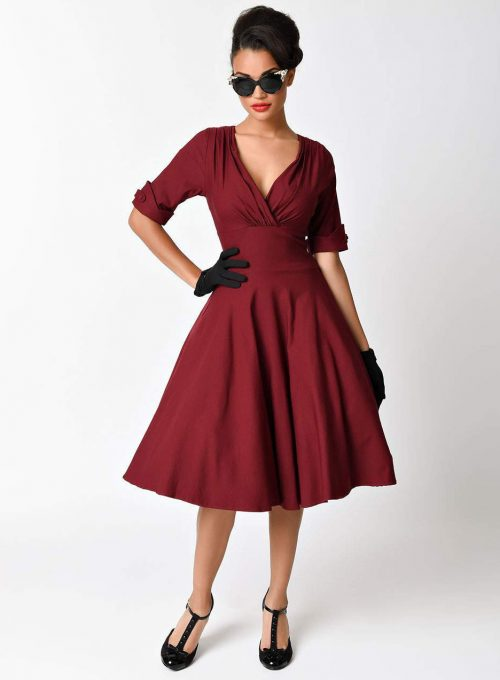 Unique Vintage 1950s Burgundy Red Delores Swing Dress with Sleeves