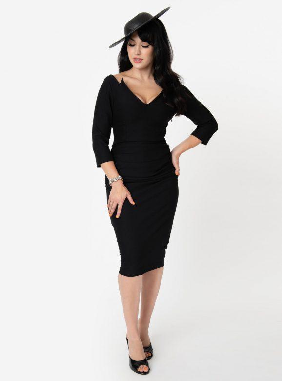 Vintage Diva 1960s Style Black Diane Wiggle Dress