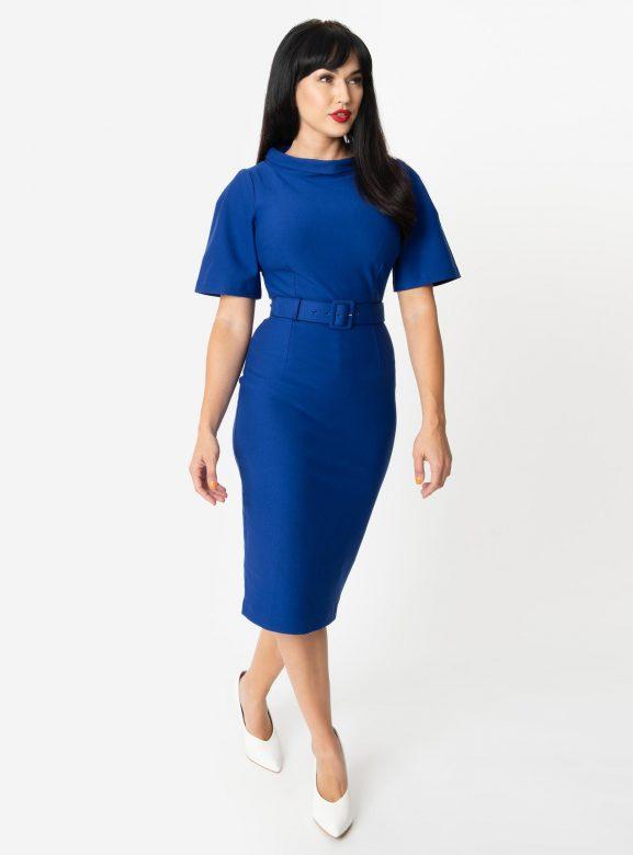 Vintage Diva 1960s Style Royal Blue Belted Jackie Pencil Dress