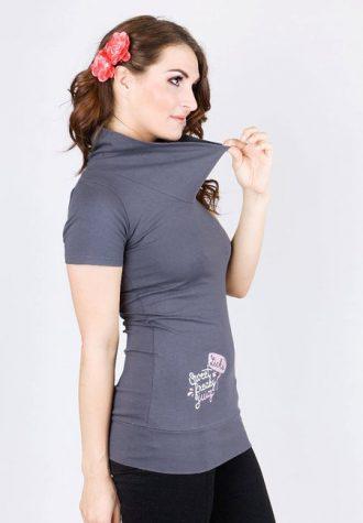 dámské šedé tričko s potiskem Lichi