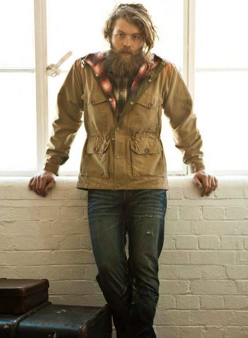 pánská světle hnědá větrovka, kostkovaná košile a džíny PRPS Goods and Company