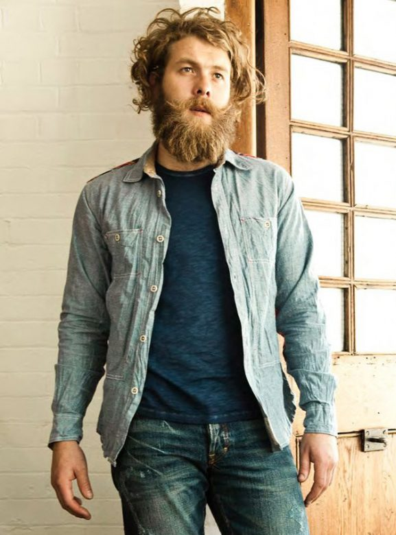 pánská světle modrá džínová košile, modré triko a džíny PRPS Goods and Company