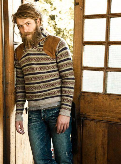 pánský pletený svetr se vzorem a džíny PRPS Goods and Company