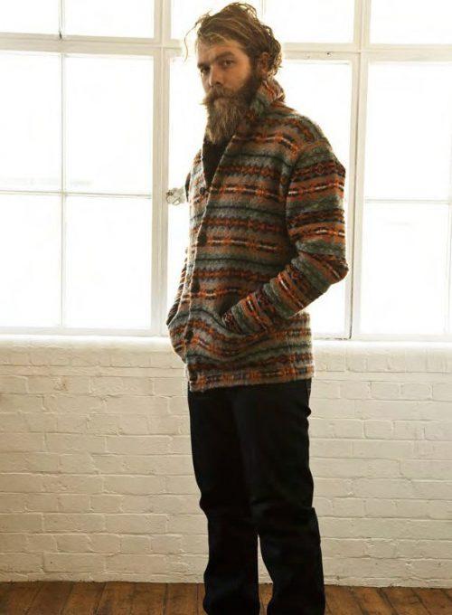 pánský zapínací svetr se vzorem a černé džíny PRPS Goods and Company