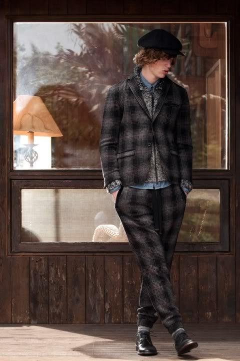 pánský kostkovaný oblek, šedý svetr a džínová košile FACTOTUM