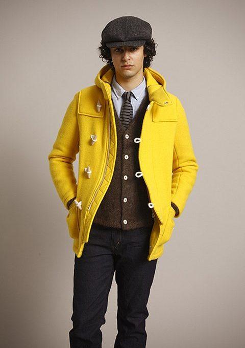 pánská bekovka, žlutý kabát, hnědá vesta, kravata a tmavě modré kalhoty Bedwin & The Heartbreakers