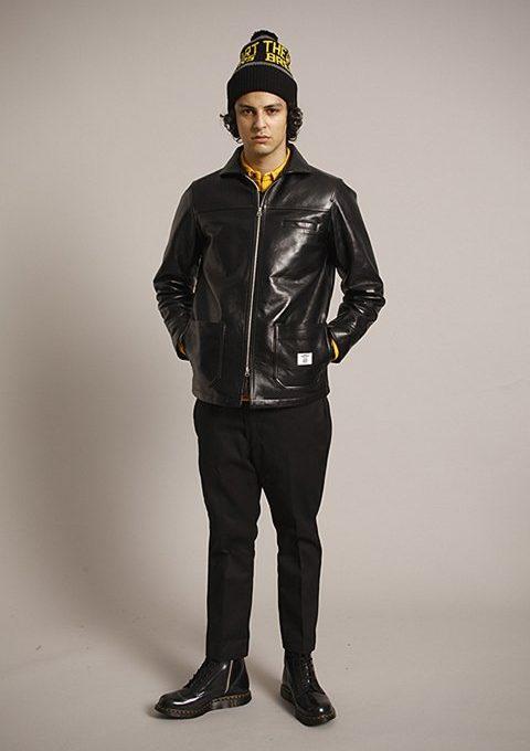 pánská černá čepice s potiskem, kožená bunda a kalhoty Bedwin & The Heartbreakers
