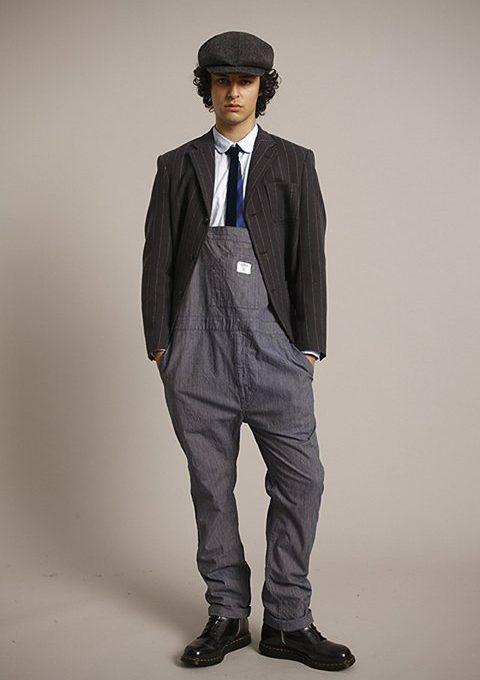 pánská tvídová bekovka, šedé sako s pruhy, bílá košile, kravata a laclové kalhoty Bedwin & The Heartbreakers
