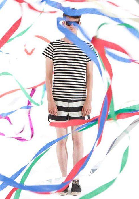 pánské černobílé pruhované triko a šortky Shipley & Halmos