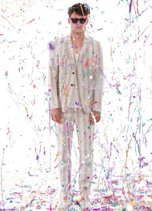 pánský světlý pruhovaný oblek Shipley & Halmos