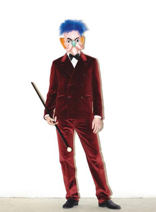 Strýček Harry doplnil vínový semišový oblek nezbytnou hůlkou.