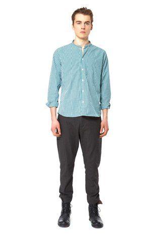 pánská bavlněná košile bez límce s potiskem bílo-modrá kostka, šedé kalhoty Hope
