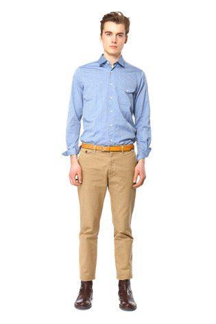 pánská modrá bavlněná košile a pískové kalhoty Hope
