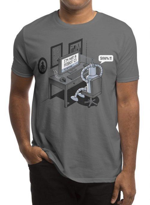 pánské šedé tričko Robot problems
