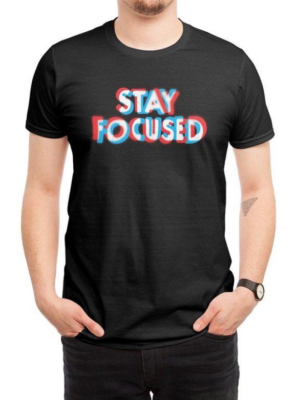 pánské černé tričko Stay focused