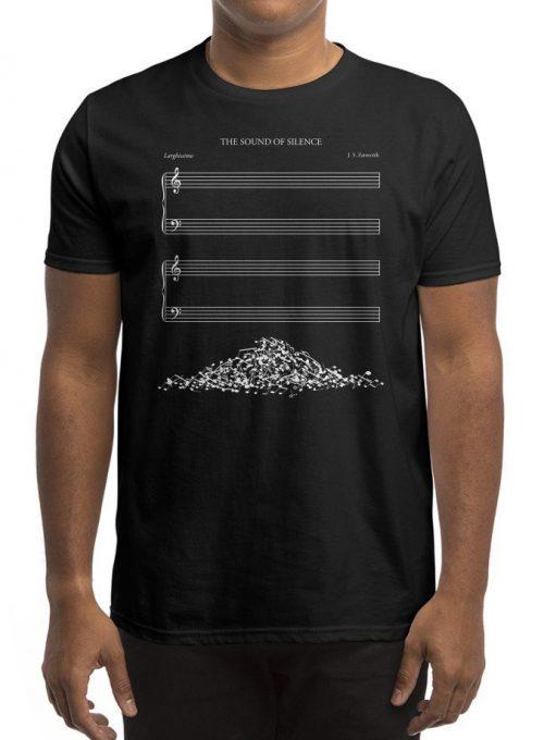pánské černé tričko The sound of silence