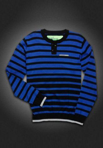 pánský černo-modrý pruhovaný svetr Gio-Goi (£44.99)