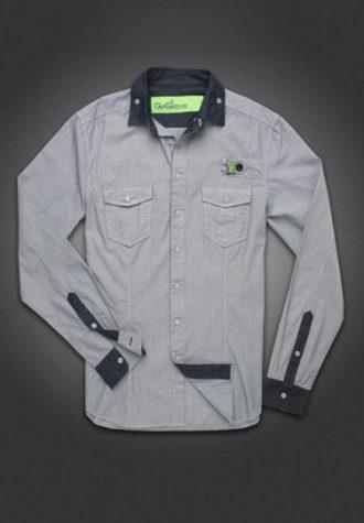 pánská šedá košile s černým límcem Gio-Goi (£54.99)