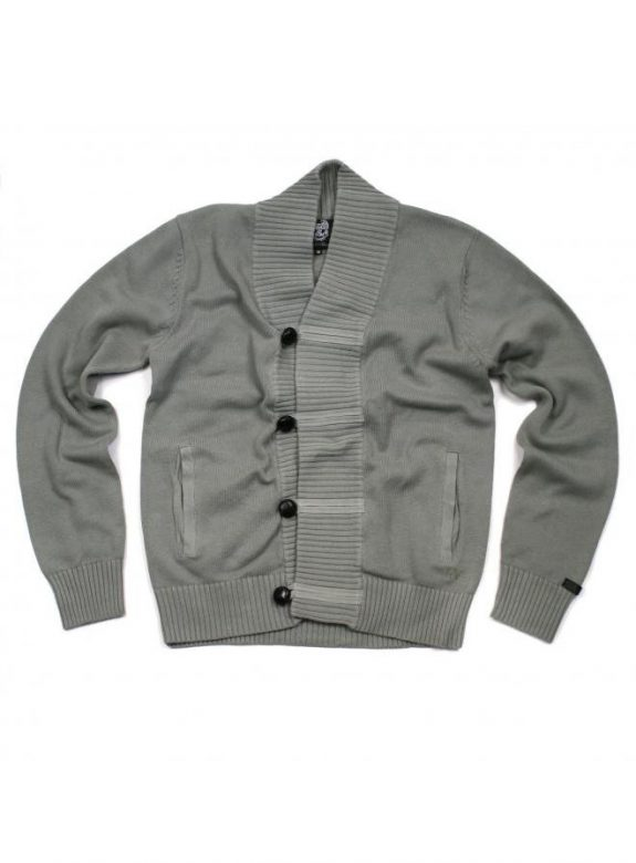 šedý svetr na knoflíky (89 EUR)