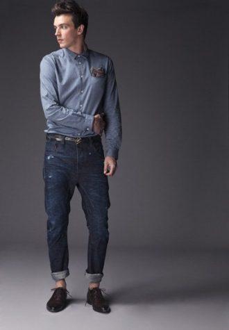 pánská džínová košile, šedý šáteček a tmavě modré džíny se sníženým sedem !ITEM