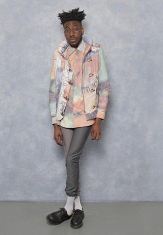 pánská šedo-růžová bunda se vzorem, košile a šedé kalhoty Agi & Sam
