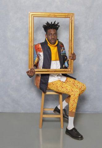 pánské sako se vzorem, žlutý krátký rolák, světlá košile a žluté legíny se vzorem Agi & Sam