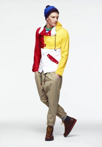 pánská barevná bunda a khaki kalhoty ASOS