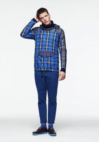 pánská kostkovaná modrá větrovka a džíny ASOS