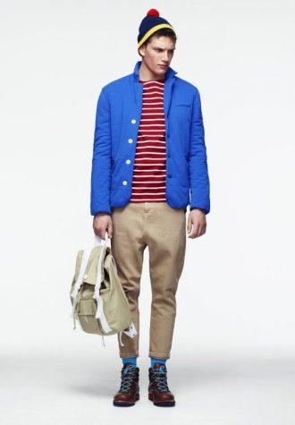 pánská modrá bunda, pruhované triko a khaki kalhoty ASOS